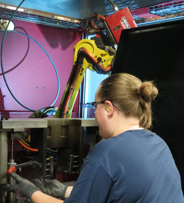 Robotic welders improve production rates and precision.