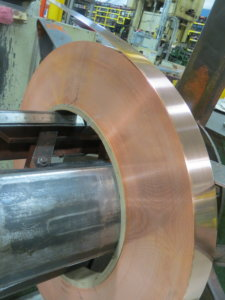 Copper metal coil for a metal stamping press