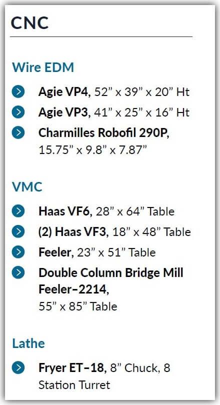 CNC Equipment List