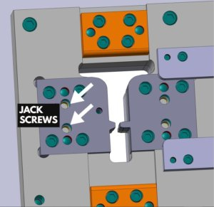 Jack Screw Components on a Tooling Die
