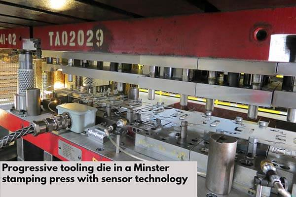 Progressive tooling die in a Minster stamping press with sensor technology